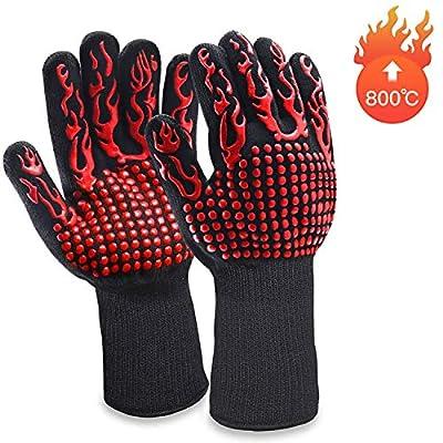 MILcea Grillhandschuhe Ofenhandschuhe Grill Lederhandschuhe Hitzebeständige bis zu 800 ° C Universalgröße Kochhandschuhe Backhandschuhe für BBQ Kochen Backen und Schweißen-Klassisch