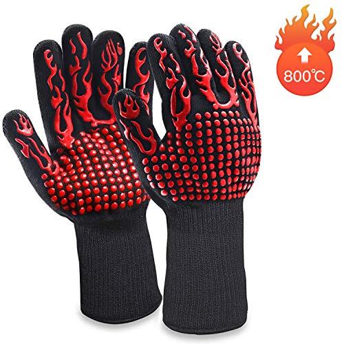 MILcea Grillhandschuhe Ofenhandschuhe Grill Lederhandschuhe Hitzebeständige bis zu 800 ° C Universalgröße Kochhandschuhe Backhandschuhe für BBQ Kochen Backen und...