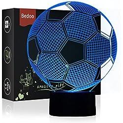 Luz de Noche LED Ilusión 3D Lámpara de Mesa de Cabecera 7 colores Cambiando la iluminación de dormir con el botón de tacto inteligente Lindo regalo de calentamiento actual Decoración creativa ideal de arte y artesanía (Fútbol)