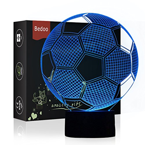 (HeXie LED Nacht Lichter 3D Illusion Nachttisch Lampe 7 Farben ändern Schlafen Beleuchtung mit Smart Touch Button Nette Geschenk Warming präsentieren kreative Dekoration ideale Kunst (Fußball))