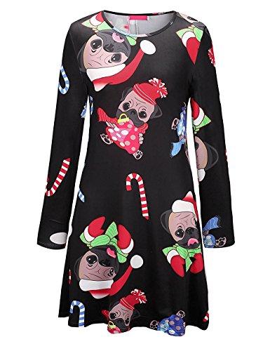 Minetom Donna Ragazza A-Line Vestito Casual Maniche Lunghe Di Natale Stampa Christmas Abito Regali Flared Swing Christmas Dress Partito Cocktail Tipo C