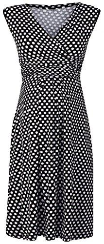 Happy Mama. Damen Umstandskleid Schwangerschafts Kleid mit Punktemuster. 110p (Schwarz mit Punkten, EU 42)