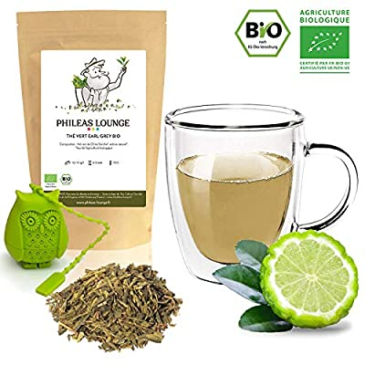 Thé vert Earl Grey Premium Bio - Thé Vert Bergamote biologique -250g - Infuseur Chouette offert