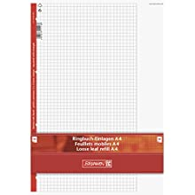 Brunnen 1066918 Ring Binder Insert Pad A4 Squared with Margin Ruled 26, 50 Sheets 70 GSM