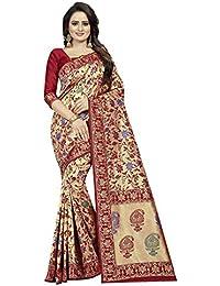 Friends Deal Fashion Jacquard Saree (Multi-Red-Saree_Blue_5.5 Meters)