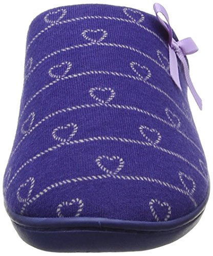 Isotoner Heart Heeled Slipper, Chaussons Mules Femme Blue (Navy/Lilac)