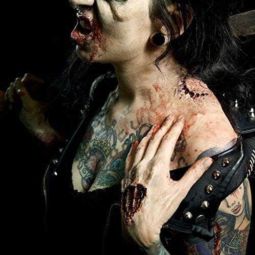 Zombie Wunde Unfallwunde Fleischwunde Halloweenmaske Blutwunde Fasching Halloween aus Naturlatex MADE IN GERMANY inkl. Mastix Hautkleber mehrfach verwendbar alle Modelle