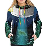 Women's Hoodies Tops,Alien with Santa Claus Hat Kidnaps Tree for Christmas Night Airship Print,Hoodie Sweatshirt Apparel for Women,Lady, Teens And Girls,Size:M