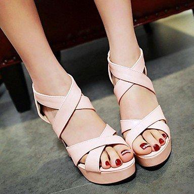 LvYuan Da donna Sandali Finta pelle PU (Poliuretano) Estate Autunno Footing Fibbia Quadrato Bianco Nero Rosa 10 - 12 cm blushing pink