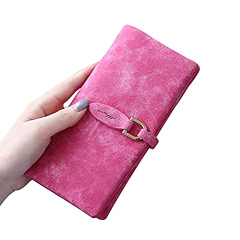Woolala Womens Nubuck Bifold Wallet Large Capacity for Cash, Phone, Cards, Passport Leaf-snap Clutch Long Purse, Rose Red