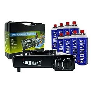Kochmann® Gaskocher + 8 Gaskartuschen Msf-1a + Transportkoffer