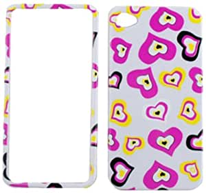 Cell Armor Snap-On Case for iPhone 4/4S - Retail Packaging - Multi Funky Hearts on White