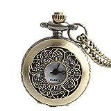 Easy Go Shopping Antike Hohle Vintage Bronze Taschenuhr Vatertagsgeschenk Lange Kettenuhr