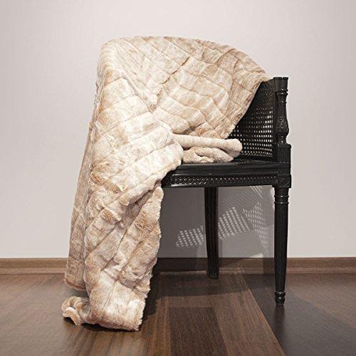 Plaid fausse fourrure Sioux beige mastic 130 x 150 cm