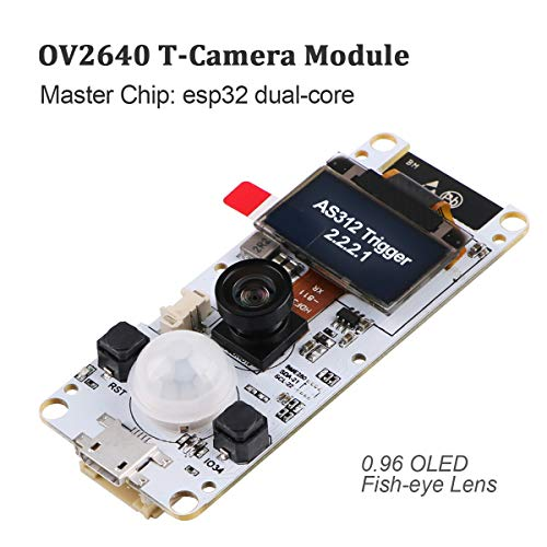 Innovateking-EU ESP32 Camera Module TTGO T-Camera Kameramodul T-Kamera ESP32 WROVER PSRAM Kameramodul 4MBytes SPRAM ESP32-WROVER-B OV2640 Kameramodul mit 0,96 Zoll OLED-Fischaugen-Objektiv Mini-board-kamera