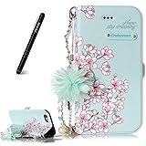 Slynmax Coque iPhone 6/6s Housse en Cuir [des Fleurs des chaînes] Sakura Motif Flip Magnétique Portefeuille Pochette Désign Carte de Crédit Pare Chocs PU Cuir Etuis Coque Housse