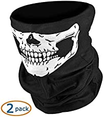 Comeonbaby® Black Seamless Skull Face Tube Mask (Set of 2)