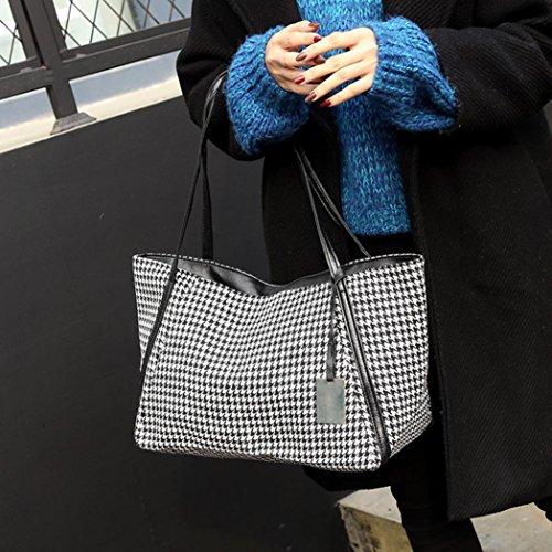 Manico Canvas Bag, Moda Donna Canvas Poule Maniglia Borse Spalla Borse di Kangrunmy Bianca