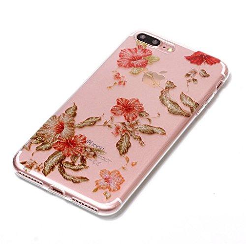 Per iPhone 7 Plus Cover , YIGA Moda Campanula piuma Cristallo Trasparente Silicone Morbido TPU Case Caso Shell Protezione Copertura Custodia Copertina per Apple iPhone 7 Plus (5.5) XS57