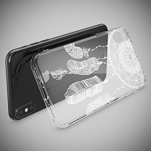 iPhone X Hülle Handyhülle von NICA, Slim Silikon Motiv Case Cover Crystal Schutzhülle Dünn Durchsichtig, Etui Handy-Tasche Backcover Transparent Bumper für Apple iPhone-X - Transparent Feathers