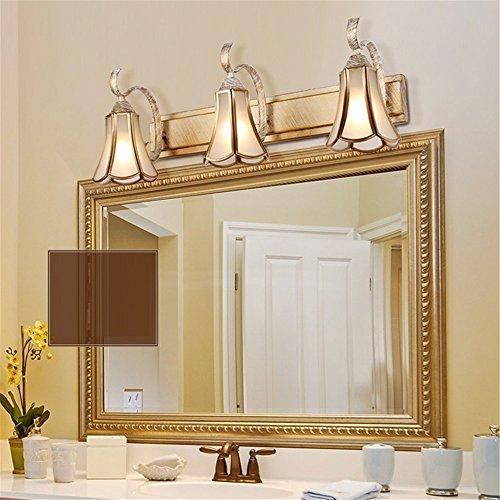 E14/58cm/3 jefes modernos de lujo retro cuarto de baño pantalla de cristal LED espejo lámpara Vintage bronce espejo Light baño maquillaje decorador de pared lámpara de decoración,B