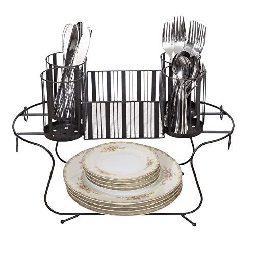 Besti Vintage Buffet Caddy (schwarz) Utensilien, Servietten und Geschirr-Organizer, tragbar, kompakt, platzsparend, für Küche und Esszimmer geeignet, strapazierfähiges Metall -