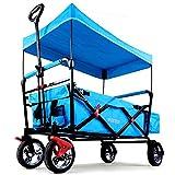 Fuxtec Faltbarer Bollerwagen FX-CT500 blau klappbar mit Dach, Vorderrad-Bremse, Vollgummi-Reifen, Hecktasche, für Kinder geei