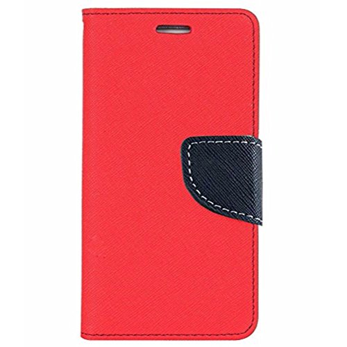 Avzax Stylish Luxury Magnetic Lock Diary Wallet Style Flip Cover Case for Micromax Canvas Spark 3 Q385 - Red