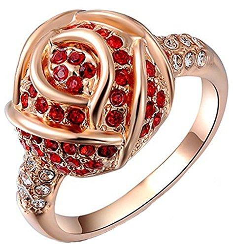 Epinki Gioielli Anello Da Donna Cristallo Rosso Rosa Rosa Oro Misura 12-Placcato (Tovagliolo Di Uccello A Mano)