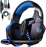 KOTION EACH Auriculares Gaming PS4 con Microfono Estéreo 3.5mm Jack, Luz LED, Volumen...
