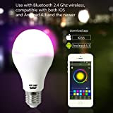 GPCT [Bluetooth 4.0] E27Ampoule LED [Smart] [1,6millions de couleurs] iPhone/iOS/Android/Galaxy/Smartphone/Tablette contrôlée décoratifs Party ampoule. Fonction d'allumage/Extinction automatique et téléchargement de l'application gratuit.