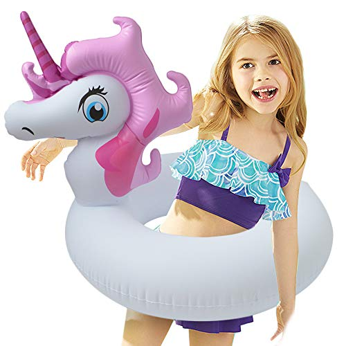 LONEEDY Unicorn Pool Floats for Kids, Inflatable Floaties Tube Swim Ring Water Float Summer Beach Outdoor Swimming Pool Party Decorations Toys