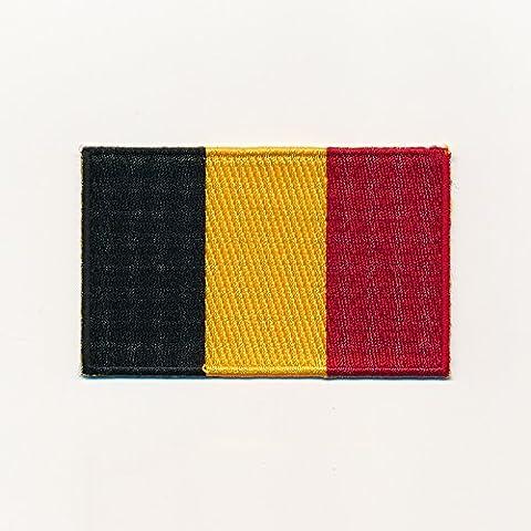 40x 25mm Regno Belgio Bruxelles Bandiera Flag toppa con logo (Belgio Flag Patch)