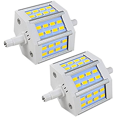 MENGS® Pack de 2 Regulable Bombilla lámpara LED 6.5 Watt R7s-J78 78mm, 24x 5730 SMD, Blanco Cálido 3000K, AC