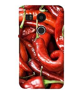 Fuson Premium Back Case Cover Red Mirchi With Brown Background Degined For LG Google Nexus 5X::LG Google Nexus 5X (2nd Gen)