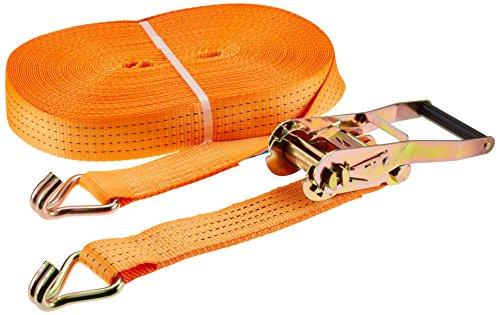 Kerbl 37159 Sangle d'arrimage en 2 parties avec crochet Orange 50 mm x 30 m Charge max. 4000 kg