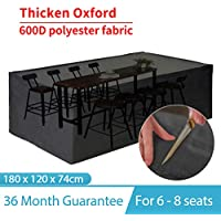 king do way Garden Furniture Covers,Outdoor Furniture Cover 600D Heavy Duty Oxford Polyester Rectangular Patio Table Covers Waterproof,Windproof & Anti-UV Garden Table Cover 180 X 120 X 74cm (Black)