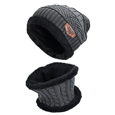 Runfon Hut Schal Set dicken Strickmütze warmen Fleece gefüttert Schal warme Wintermütze für Männer und Frauen