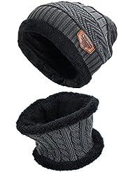 Conjunto de sombrero y Bufanda , hombre y mujer sombrero Caliente de Punto y Bufanda de Forro de Lana, 2 Piezas (50 - 60cm, Gris urgente)