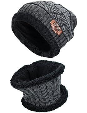 Conjunto De Bufanda Sombrero para Hombre y Mujer de Gorro de Invierno Unisex Sombrero Caliente de Punto Gorra...