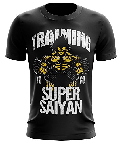 Stylotex Fitness T-Shirt Training to go Super Saiyan vintage Funktions-Stoff schnelltrocknend, Farbe:schwarz;Größe:L