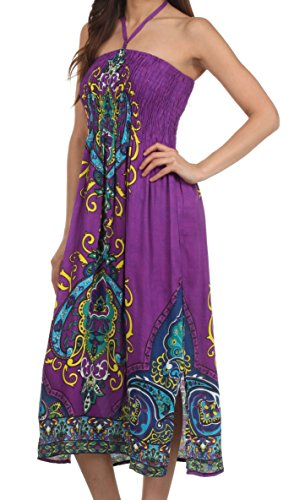 Sakkas Kanya Robe Tube Style Tribal Pourpre