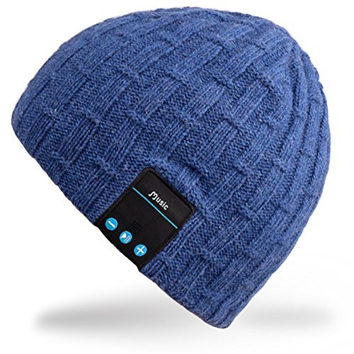 Rotibox Washable Bluetooth Beanie Wintermütze Short Skully Cap mit Bluetooth Stereo Kopfhörer Mic Hands Free Akku Kompatibel mit Mobiltelefonen, iPhone, iPad, Laptops, Tablets - Blau 3 Hands Free-headset