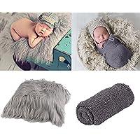 Zoylink Newborn Wrap, Foto Prop lange Haare Neugeborenen Fotografie Wrap Foto Decke Shaggy Bereich Teppich mit Ripple Wrap für Baby