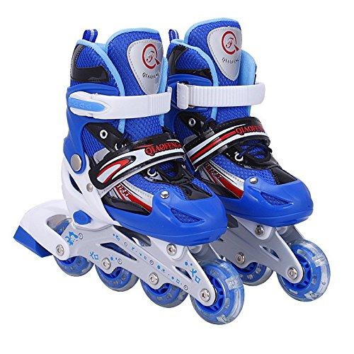 Inliner Inline-skates für Kinder - Größenverstellbar über vier Größen - mit Leuchtende Rollen - Blau - Gr. M (35-38)