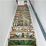 zoomingmingli Jirafa Azulejos de cerámica Escaleras Pegatinas de Pared Mural Calcomanía de la Escalera Paisaje Natural Pasillo Etiqueta de Piso Pasillo Cubierta 18 X 100 cm 13 Unids/Set