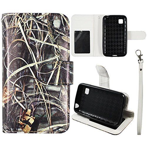 Flip Wallet Kreditkarte Halter Camo Gras für LG Optimus Dynamic 2 II L39 C Trac Fone Verizon PU PU (Poly) Synthetisches Leder Tasche mit ID Slot Fall Cover Snap On Cover Case