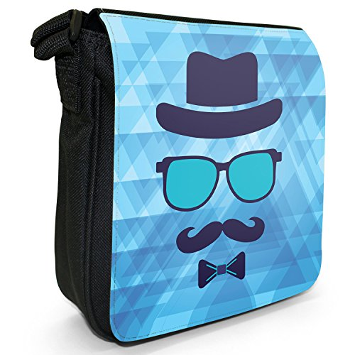 Hipster Face, con baffi Hipster Guy-Borsa a tracolla in tela, piccola, colore: nero, taglia: S Blue Invisible Trendy Guy