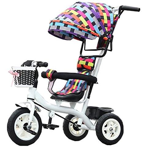 Enfant à l'intérieur de l'extérieur Petit vélo de vélo de vélo Vélo de fille pour 6 mois à 6 ans Bébé Trois roues Trolley Auvent, roue en caoutchouc (coloré, blanc)