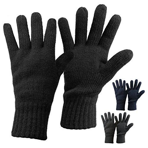 Alpidex Thermo Strickhandschuhe DARK SHEEP mit Thinsulate für Damen und Herren Unisex Thinsulate Füllung Fingerhandschuhe für Erwachsene Größen S bis L, Größe:S, Farbe:black